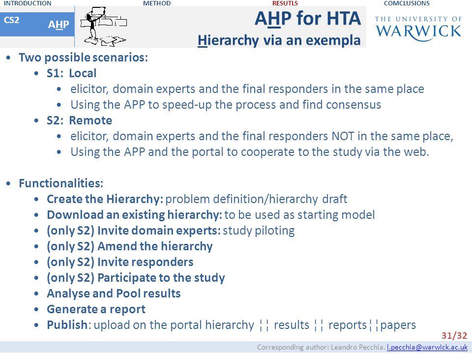 AHP for HTA Hierarchy via an exempla Two possible scenarios: S1: Local