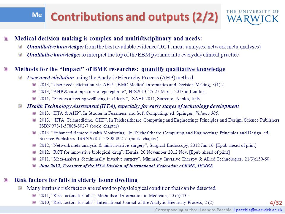 Contributions and outputs (2/2)