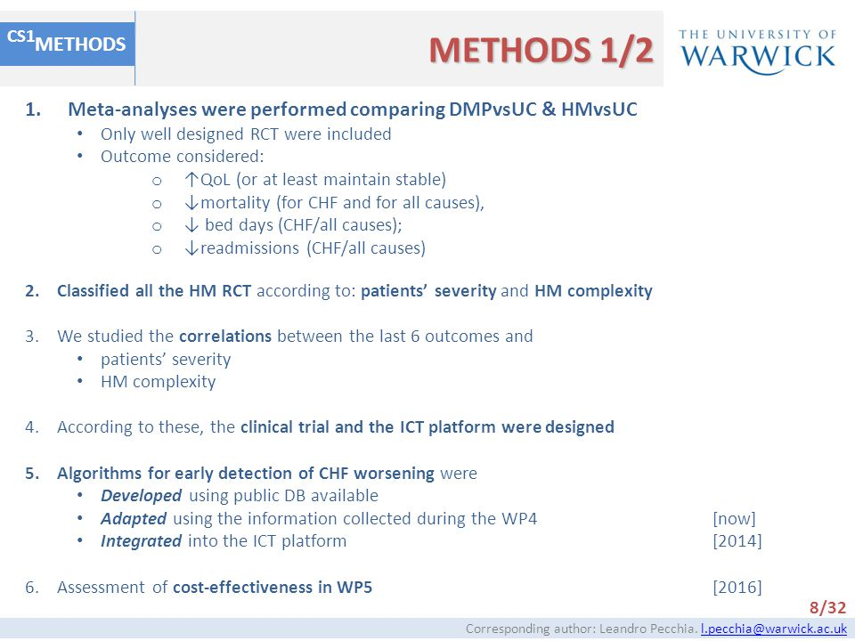 METHODS METHODS 1/2. CS1. Meta-analyses were performed comparing DMPvsUC & HMvsUC. Only well designed RCT were included.