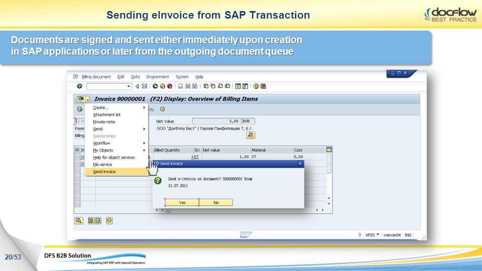 Sending eInvoice from SAP Transaction