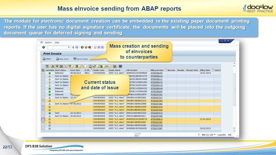 Mass eInvoice sending from ABAP reports