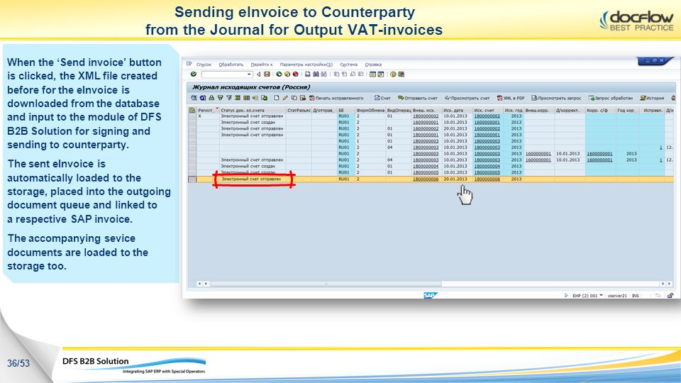 Sending eInvoice to Counterparty from the Journal for Output VAT-invoices