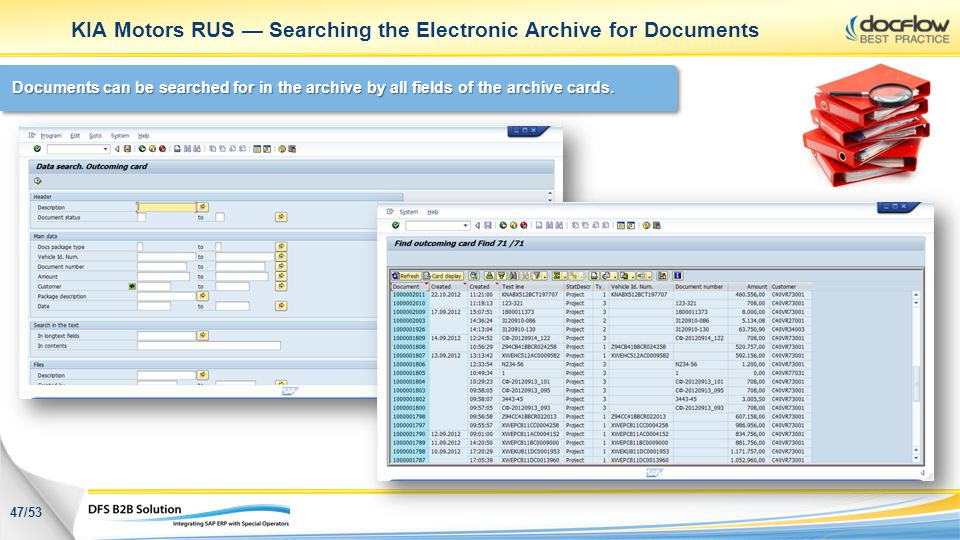 KIA Motors RUS — Searching the Electronic Archive for Documents