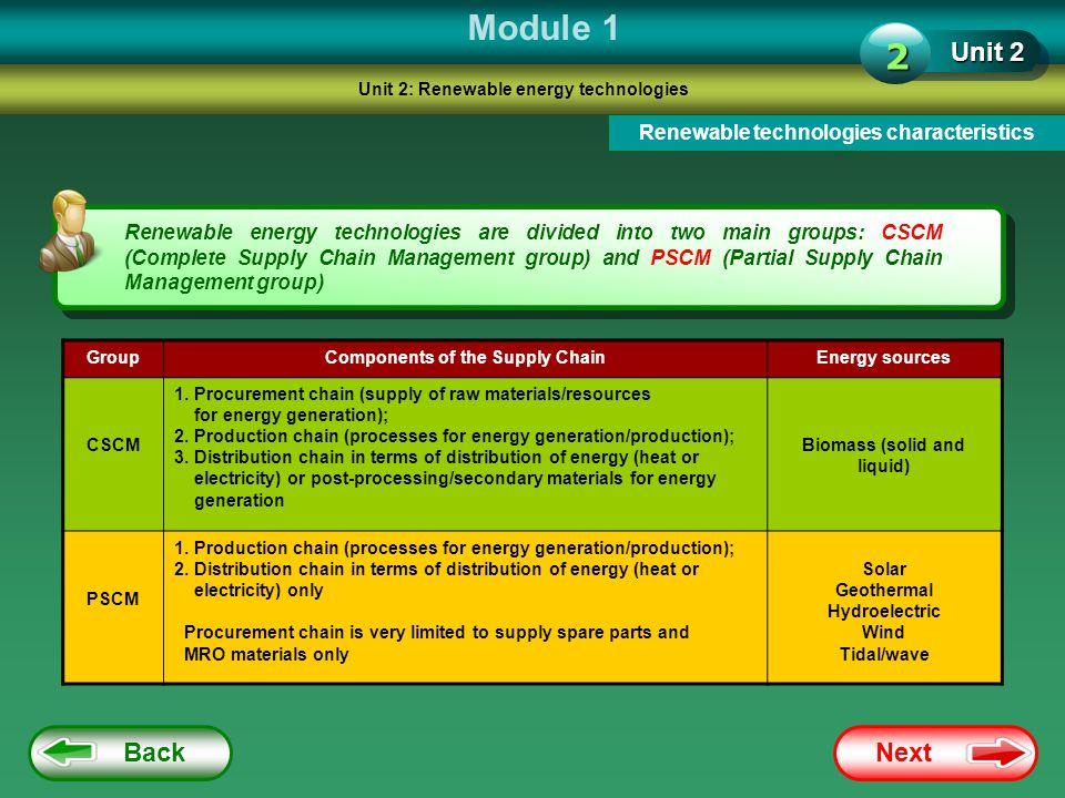 Module 1 2 Unit 2 Back Next Renewable technologies characteristics