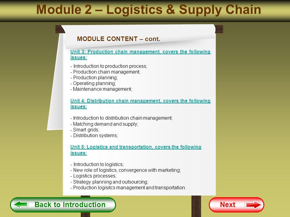 Module 2 – Logistics & Supply Chain