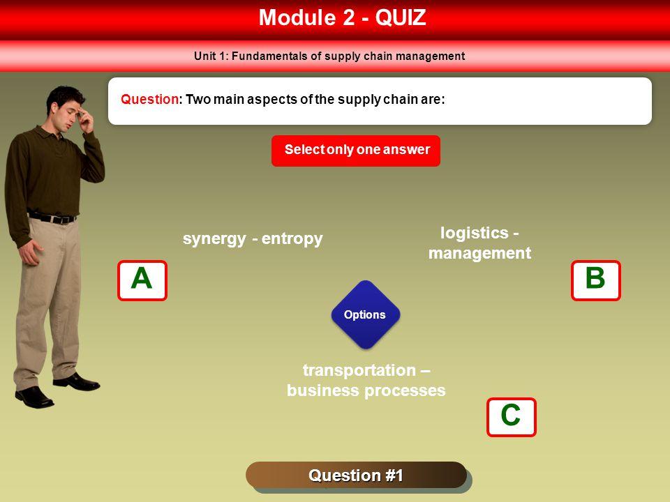A B C Module 2 - QUIZ logistics - management synergy - entropy