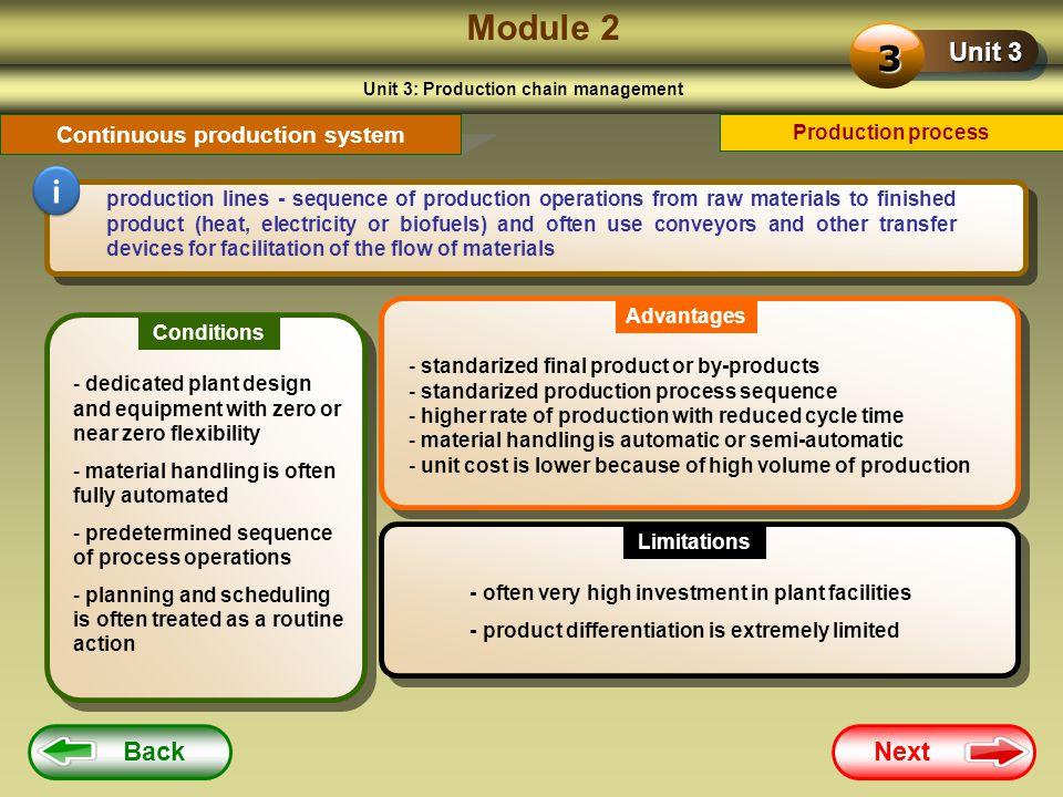 Unit 3: Production chain management Continuous production system