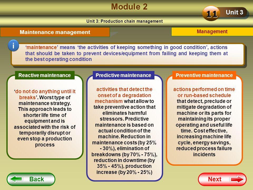 Module 2 11 i Unit 3 Back Next Maintenance management Management