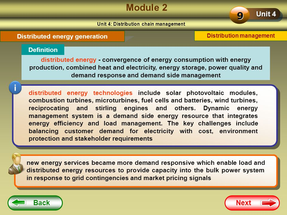 Module 2 9 i Unit 4 Back Next Distributed energy generation Definition