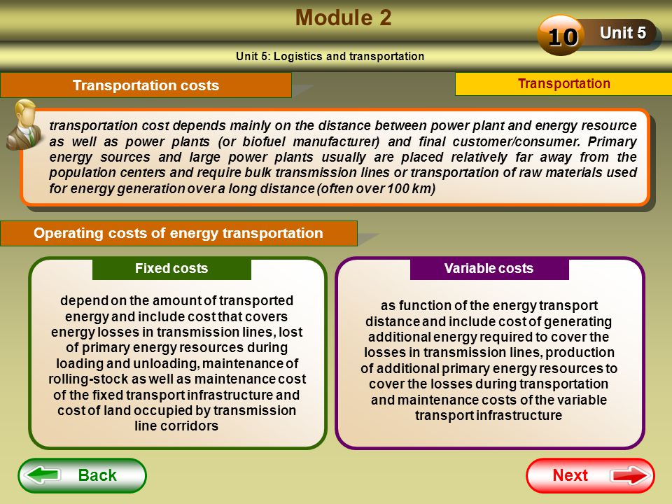 Module 2 10 Unit 5 Back Next Transportation costs