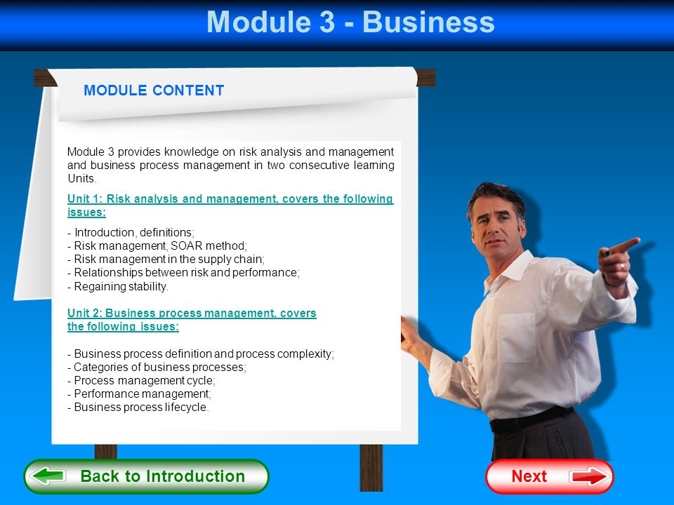 Module 3 - Business Back to Introduction Next MODULE CONTENT