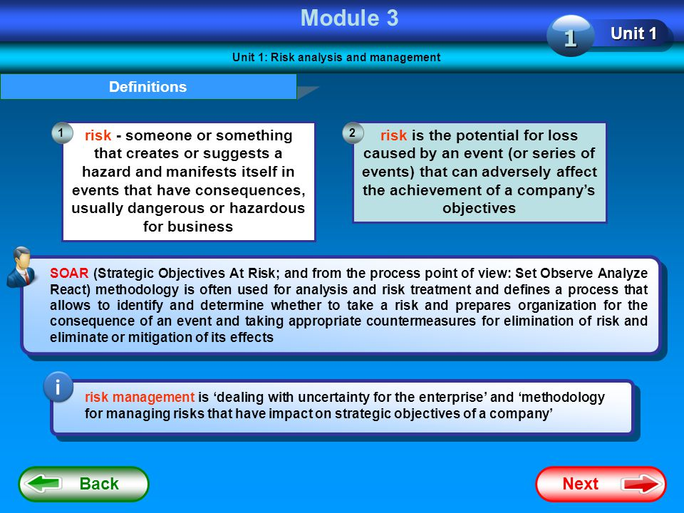 Unit 1: Risk analysis and management