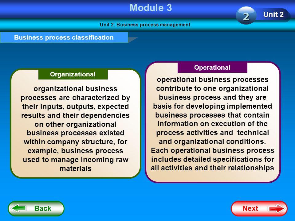 Unit 2: Business process management Business process classification