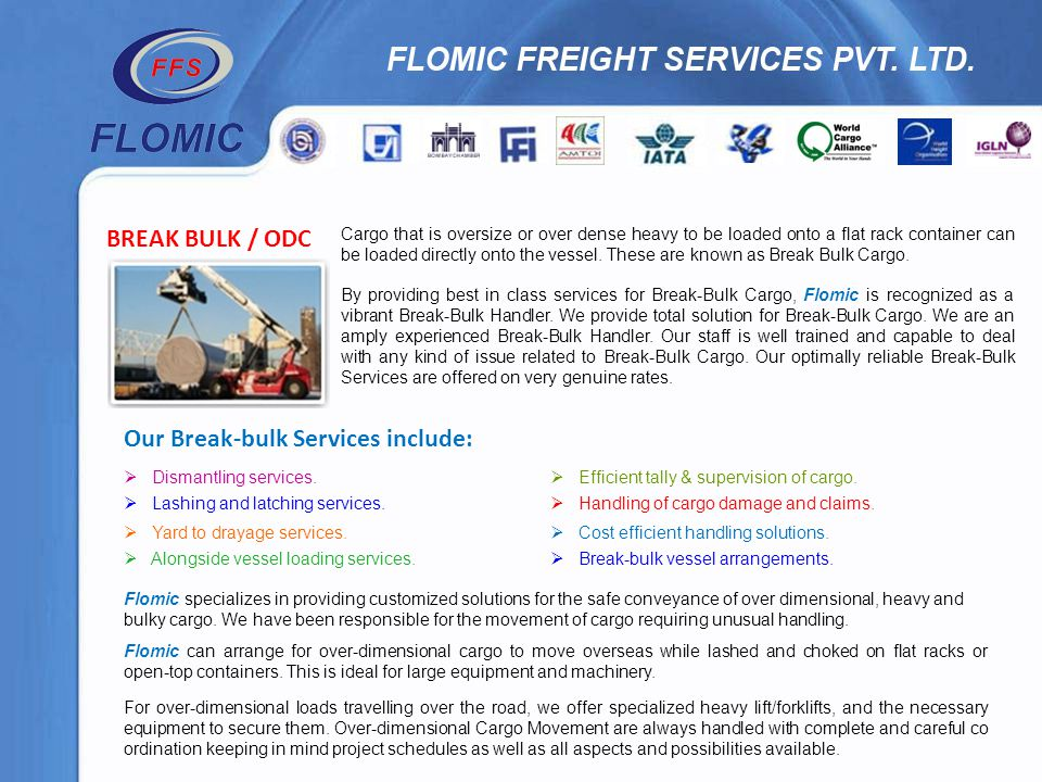 Our Break-bulk Services include: