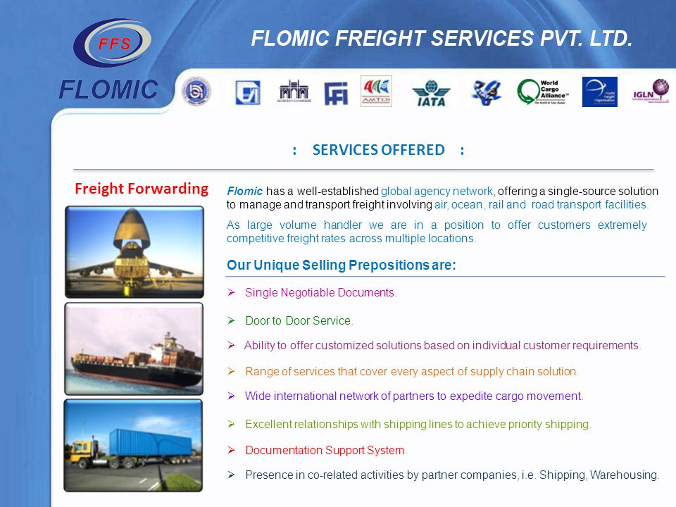 : SERVICES OFFERED : Freight Forwarding