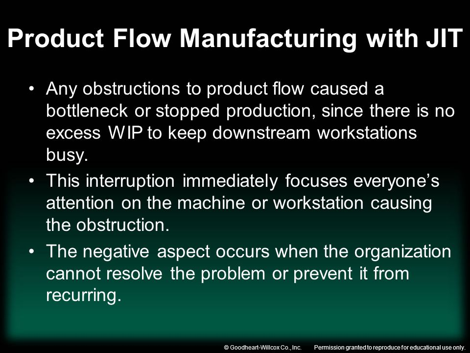 Product Flow Manufacturing with JIT