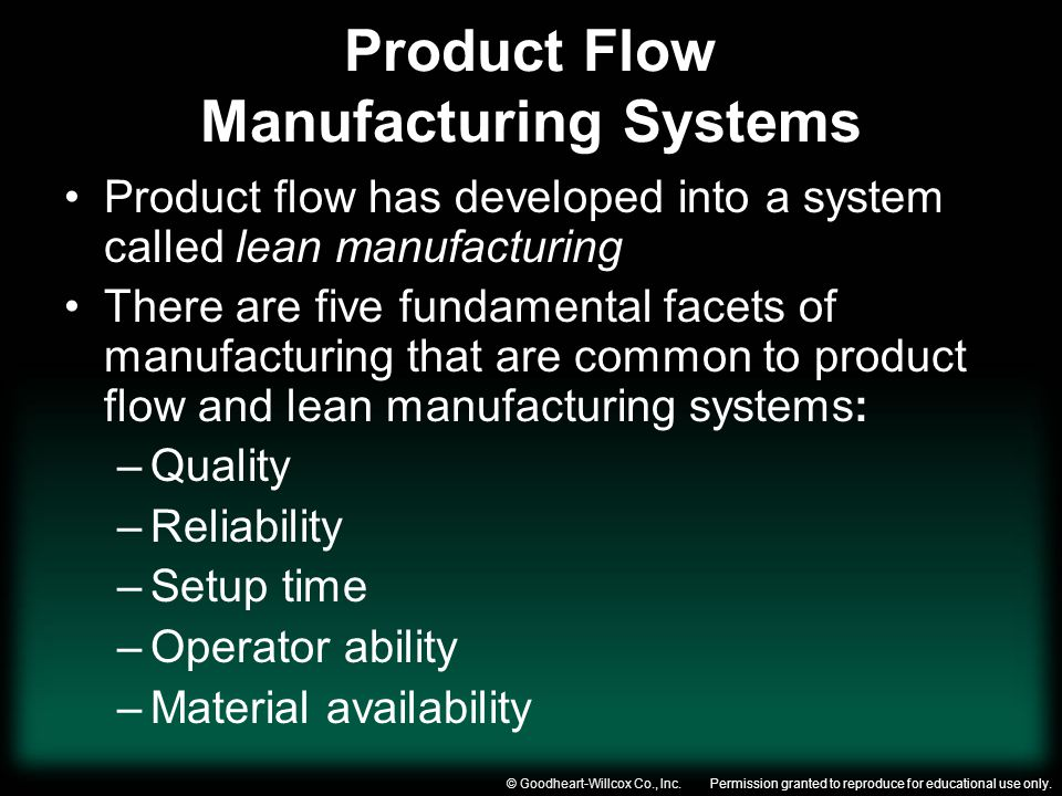 Product Flow Manufacturing Systems