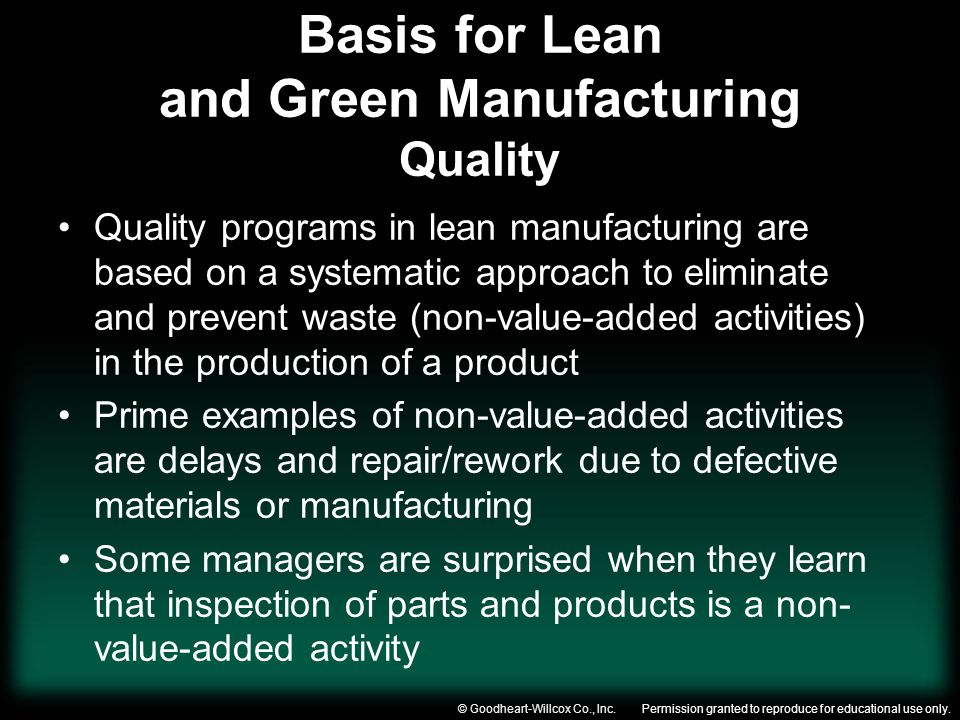 Basis for Lean and Green Manufacturing Quality