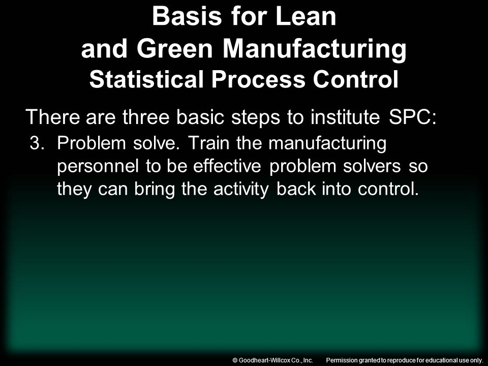 Basis for Lean and Green Manufacturing Statistical Process Control
