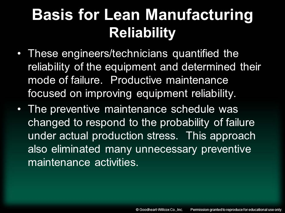 Basis for Lean Manufacturing Reliability