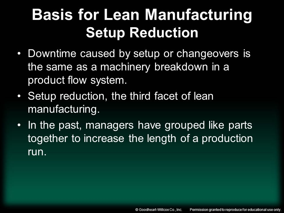 Basis for Lean Manufacturing Setup Reduction