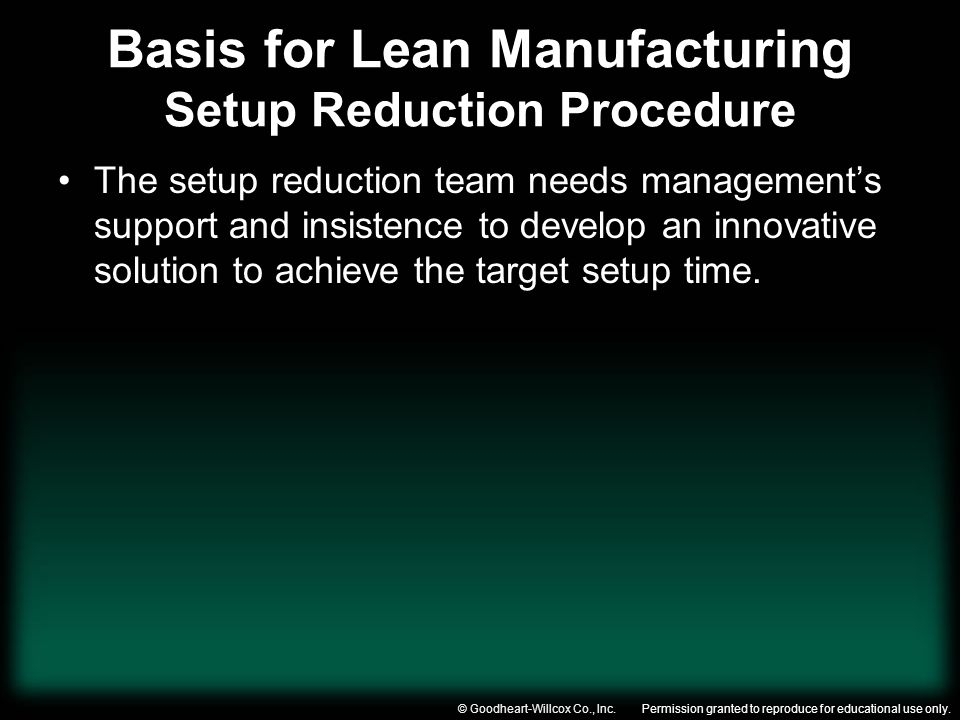 Basis for Lean Manufacturing Setup Reduction Procedure