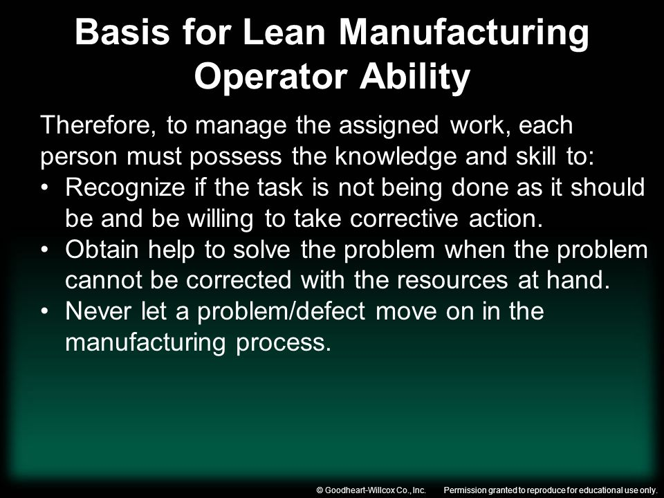 Basis for Lean Manufacturing Operator Ability