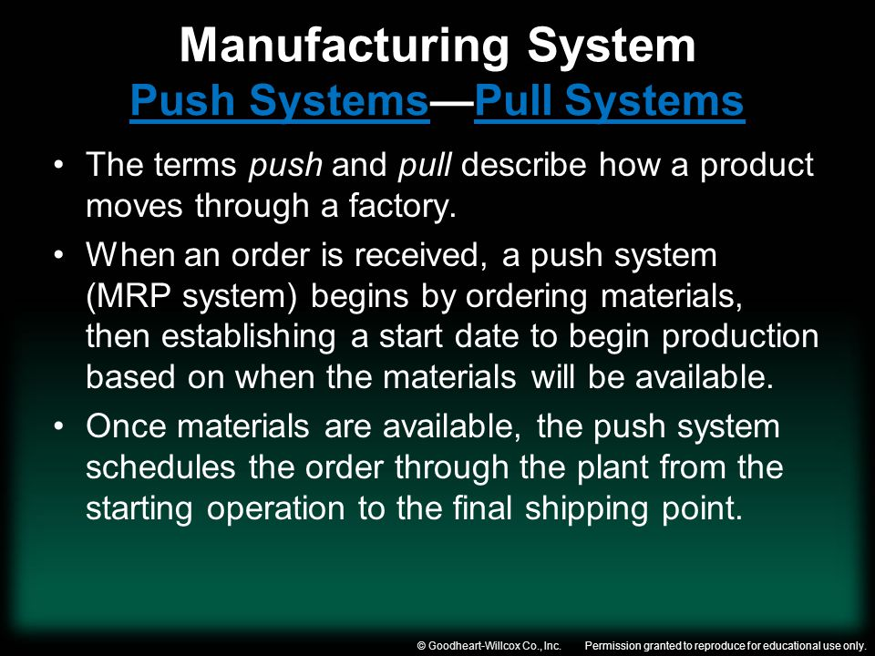 Manufacturing System Push Systems—Pull Systems