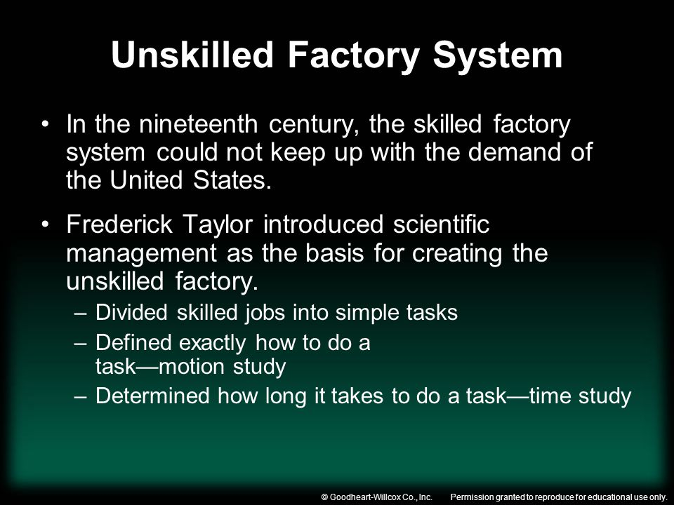 Unskilled Factory System