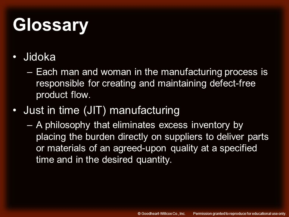 Glossary Jidoka Just in time (JIT) manufacturing