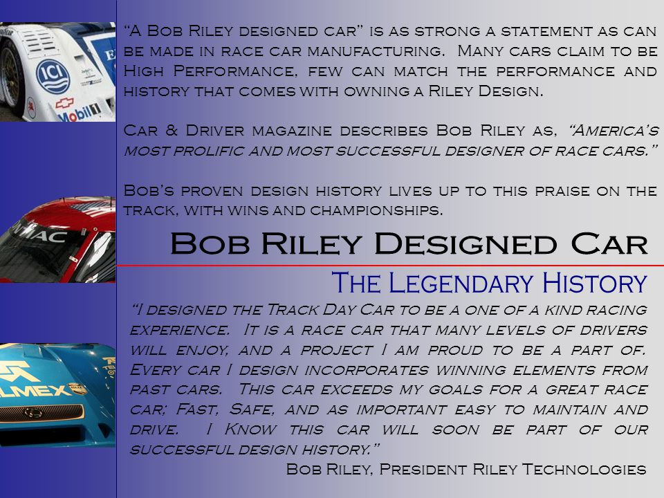 Bob Riley Designed Car The Legendary History