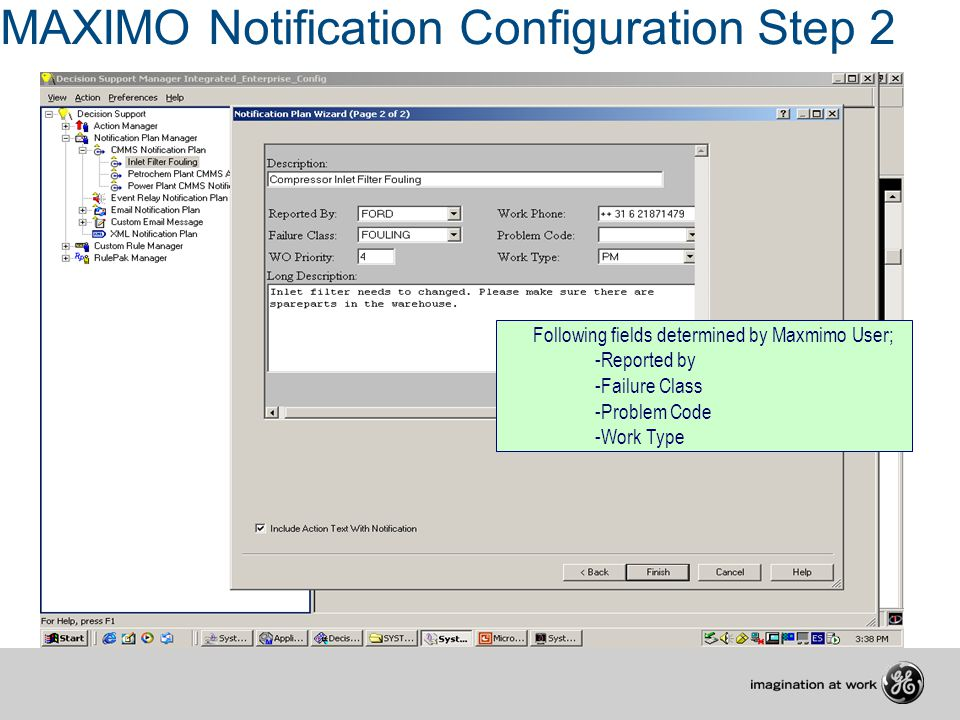 MAXIMO Notification Configuration Step 2