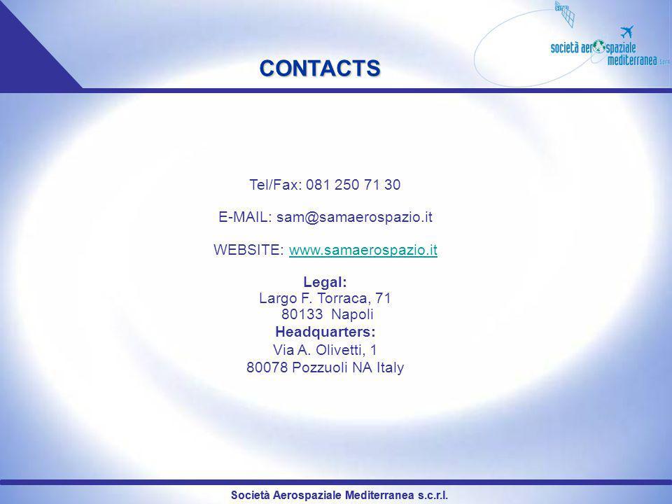 CONTACTS Tel/Fax: 081 250 71 30 E-MAIL: sam@samaerospazio.it