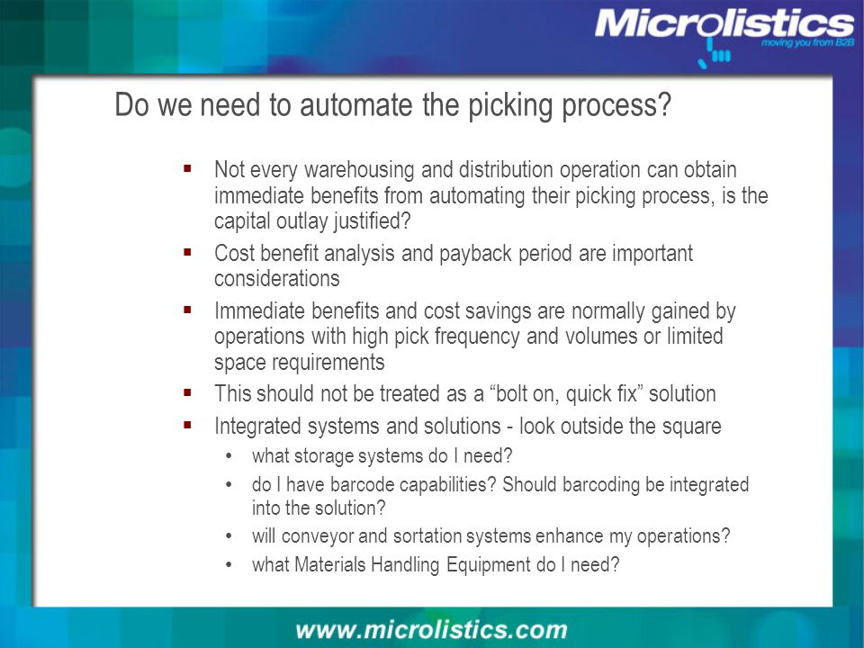 Do we need to automate the picking process