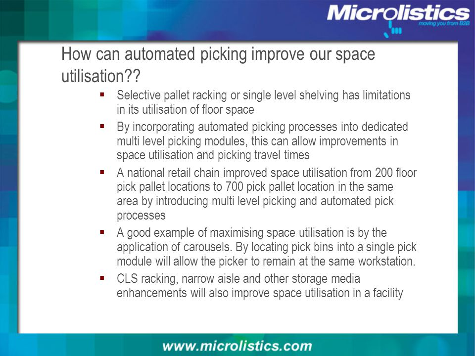 How can automated picking improve our space utilisation