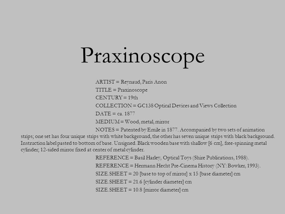 Praxinoscope ARTIST = Reynaud, Paris Anon TITLE = Praxinoscope