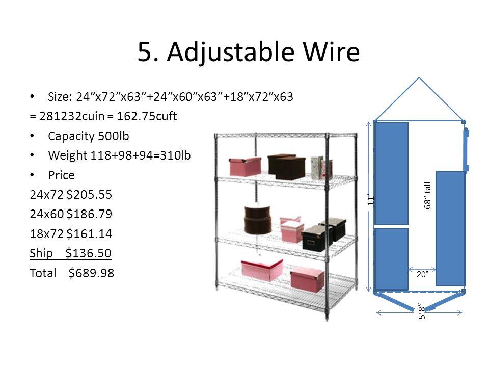 5. Adjustable Wire Size: 24 x72 x63 +24 x60 x63 +18 x72 x63