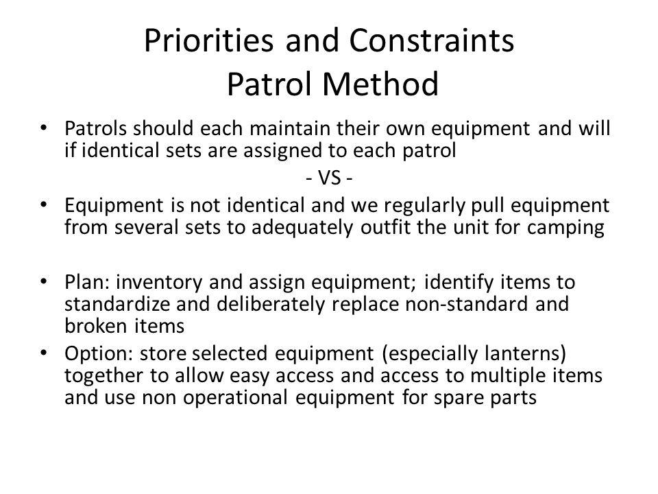 Priorities and Constraints Patrol Method