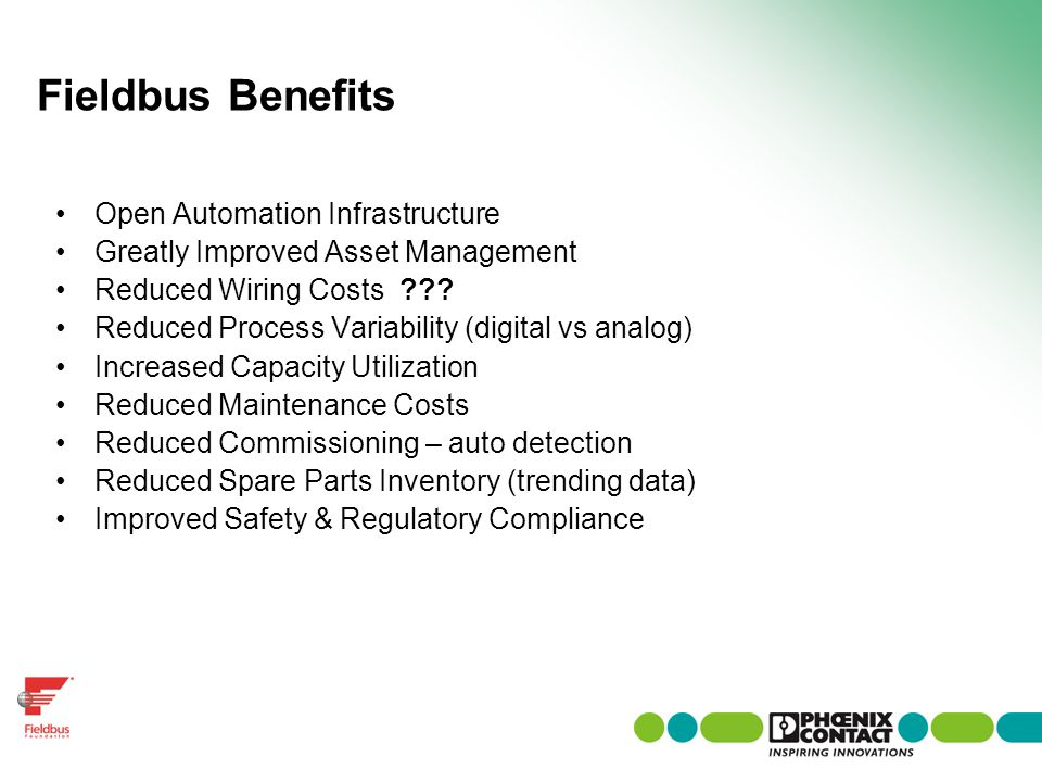 Fieldbus Benefits Open Automation Infrastructure