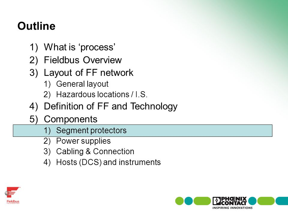 Outline What is 'process' Fieldbus Overview Layout of FF network