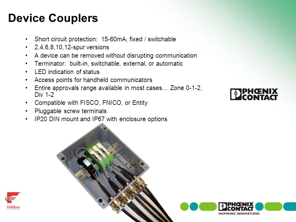 Device Couplers Short circuit protection: 15-60mA, fixed / switchable