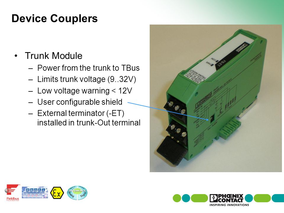 Device Couplers Trunk Module Power from the trunk to TBus