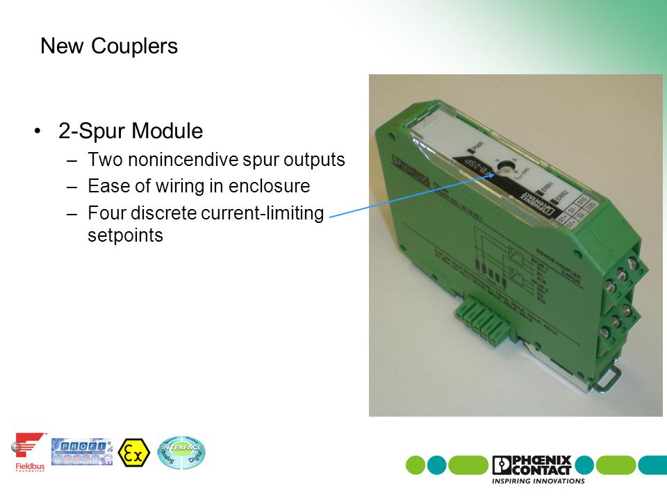New Couplers 2-Spur Module Two nonincendive spur outputs