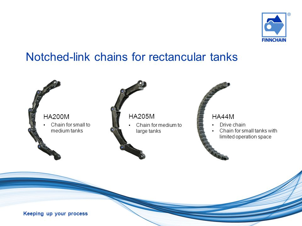 Notched-link chains for rectancular tanks