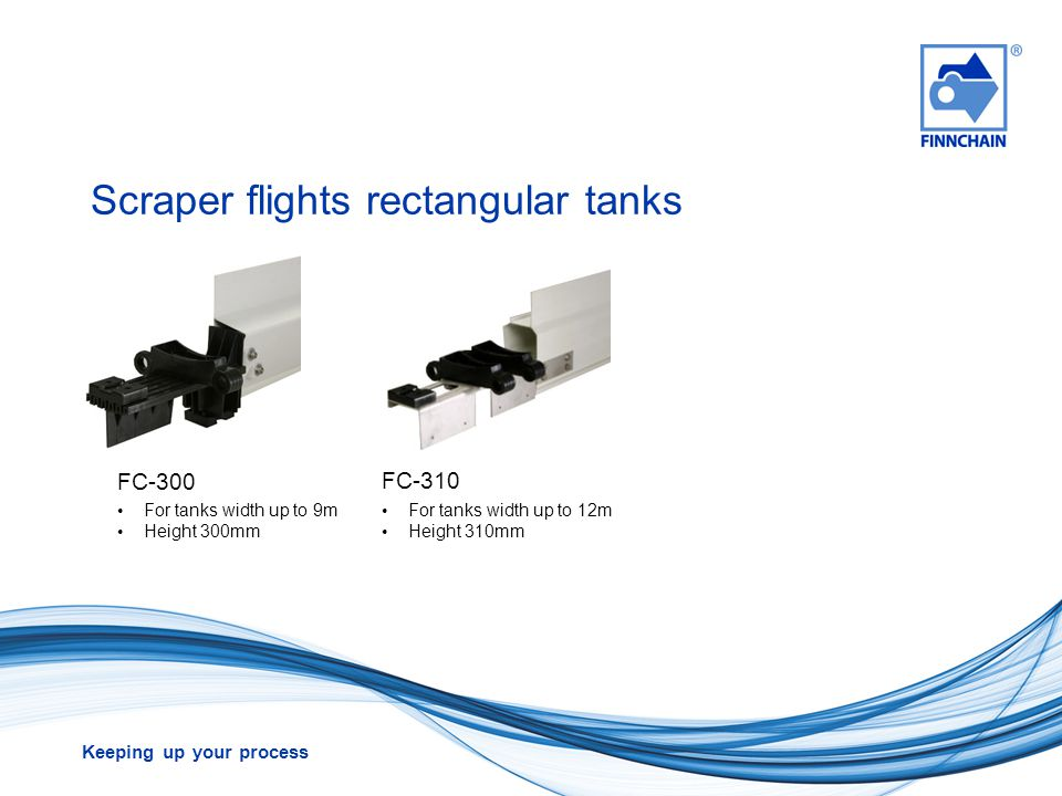 Scraper flights rectangular tanks