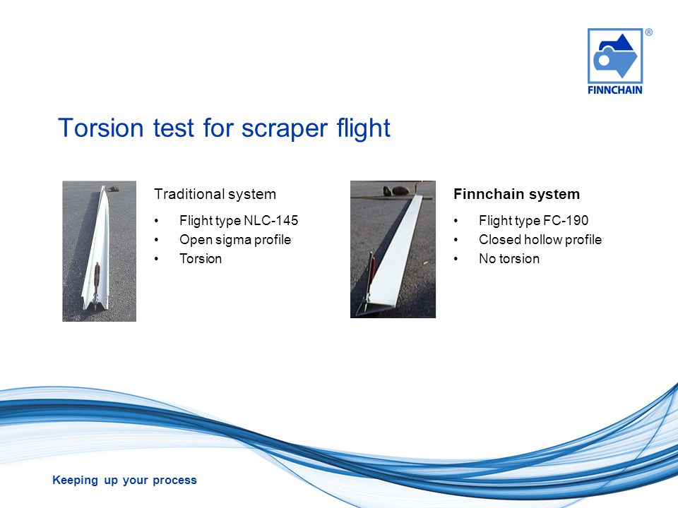 Torsion test for scraper flight