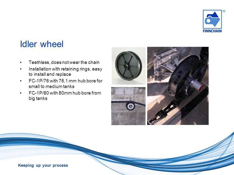 Idler wheel Teethless, does not wear the chain