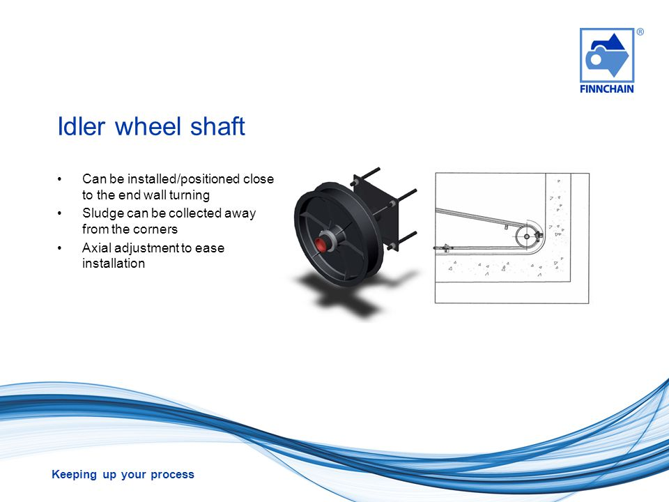 Idler wheel shaft Can be installed/positioned close to the end wall turning. Sludge can be collected away from the corners.