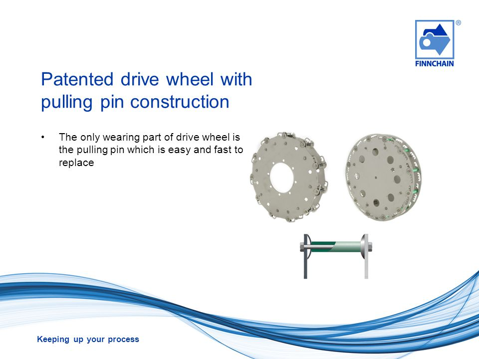 Patented drive wheel with pulling pin construction