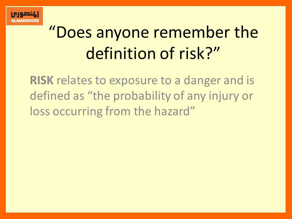 Does anyone remember the definition of risk